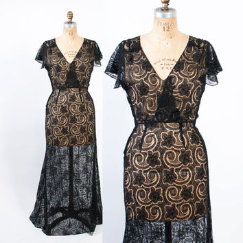 Vintage 30s GOWN / 1930s Black Lace Sheer Cotton Eyelet & Butterfly Sleeves Maxi DRESS M