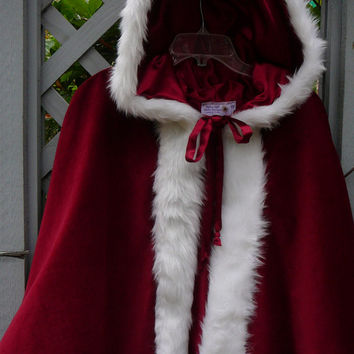 Toddler and Girls Fur- trimmed Velveteen Cape with Satin-look Lining.....Holiday, Riding Hood, Victorian, Costume, Halloween, Christmas