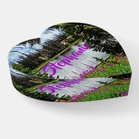 Lake and Deep Pink Wildflowers Floral Heart Glass Paperweight
