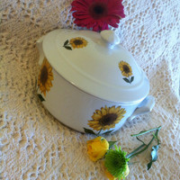 Sunflower Ceramic Casserole Baking Dish Cordon Bleu BIA Vintage Covered Cookware Yellow Floral Souffle Dutch Oven Soup Tureen Bowl Pot