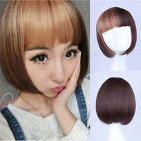 Women's Short Straight Hair Full Wig Neat Bangs Cosplay Brown Mix Anime Bob Wigs