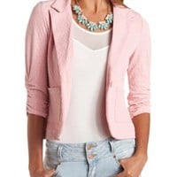 Textured Single Button Blazer by Charlotte Russe - Blush