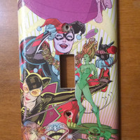 Comic Book Harley Quinn Poison Ivy  Catwoman Gotham City Sirens light switch cover
