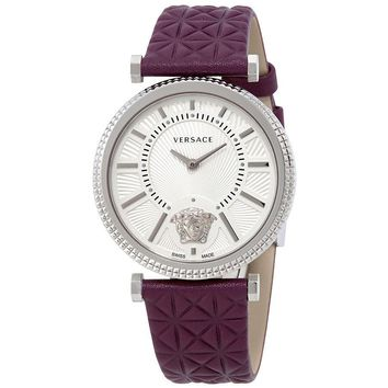 Versace V-Helix Ivory Dial Leather Ladies Watch VQG010015