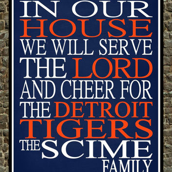 Customized Name Detroit Tigers MLB Baseball personalized family print poster Christian gift sports wall art - multiple sizes
