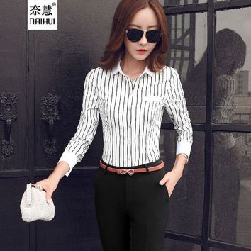 Blouse female Casual elegant black and white Striped Kimono blusas lady Office Shirt Long Sleeve Women Chiffon Tops