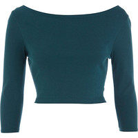 River Island Womens Dark teal 3/4 sleeve crop top