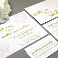 Vintage Floral Wedding Invitations Calligraphy Invite Set Gold and Pink Pocket Folder Suite RSVP Postcard Flower Wedding Invitation Script