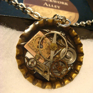 Steampunk Pendant Necklace with Upcycled Watch Parts, Gears and Watch Clock Face (1531)
