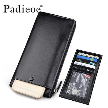 Men's Genuine Leather Long Wallet Fashion Designer Phone Pouch Bag High Quality Male Zipper Bag Multiple Card Holder