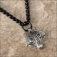 Viking Inspired Tribal Wolf Pendant on Luxurious Thick Black Viking Braid Design Stainless Steel Necklace With 8 Length Options