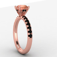 14K Rose Gold Black Diamond Engagement Ring by EternityCollection