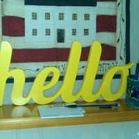 HELLO - Wooden Word Sign Decor - self-standing, shelf display, signage, wood sign, handwriting, typography, woodcraft- 18 colors