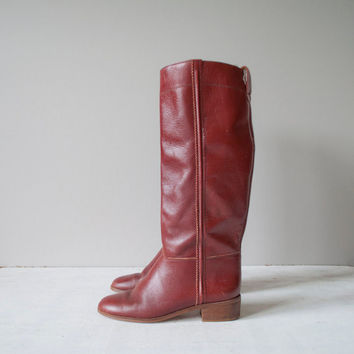 Vintage Riding Boots / Burgundy Red Leather / by MariesVintage