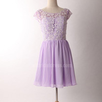 purple short sleeves lace short cheap bridesmaid dress | Cheap full length Sale