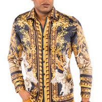 Prestige Black & Gold Angel Print Button-up Shirt