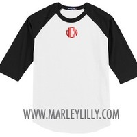 Monogrammed Colorblock Raglan Jersey | Preppy Athlete | Marley Lilly