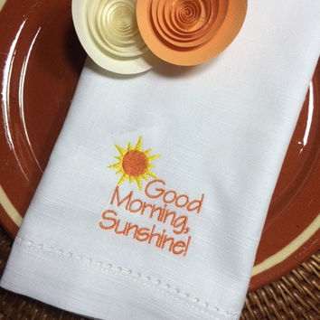 4 Good Morning, Sunshine Bright Yellow and Orange Breakfast Brunch Napkins -Guest / hostess / sunny / table decor / table linens / bright
