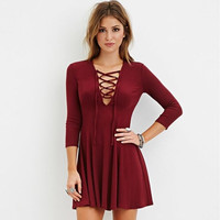 Drawstring Lace Swing A-Line Pleated Dress  B0013604
