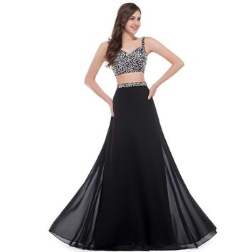 Grace Karin Elegant Long Black Evening Dress Two Piece Prom Gowns Beadeing Sequined Chiffon Robe De Soiree Formal Evening Dress