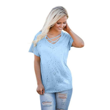 Latest  Women T-Shirts Solid White Blue T shirt  Desgin Hole Tops Lady Short Sleeve Tees Tops #425 BL