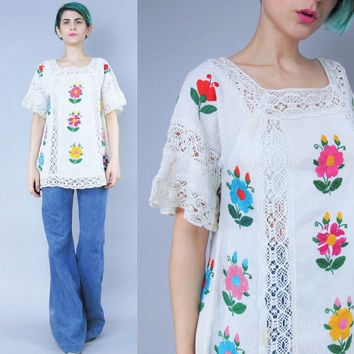 1960s Mexican Embroidered Blouse Cream Cotton Blouse Colorful Floral Embroidered Tunic Top Boho Hippie Peasant Shirt Crochet Lace (S/M)