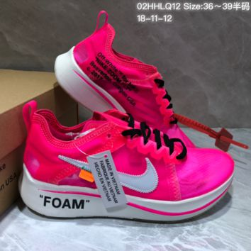 DCCK N791 Off White Nike LAB x Zoom marathon Fly running shoes Rose Red