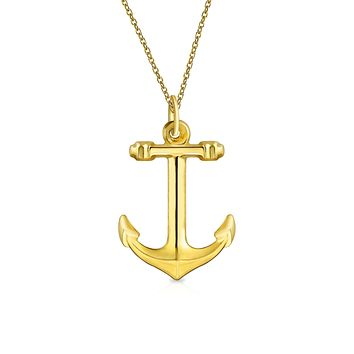 14K Yellow REAL Gold Boat Ship Anchor Pendant Necklace Men Gold Chain