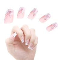 24pcs Butterfly False French Nail Art Tips - Default