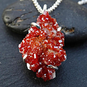 vanadinite druzy pendant, vanadinite crystal necklace, real crystal pendant, crystal druzy necklace, raw crystal pendant, geode necklace