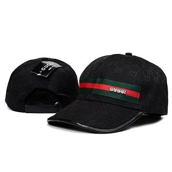 GUCCI Women Men Stripe Logo Adjustable Travel Hat Sport Cap