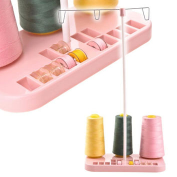 Pink ABS Plastic Metal Strip Adjustable 3 Embroidery Thread Spool Holder Stand Sew Quilting For Home Sewing Machine