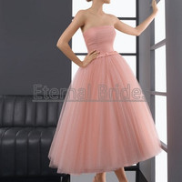 Quality Blush Pink Strapless Tea Length Tulle Ball Gown/Sash/Belt