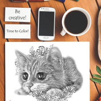 Kitten Cat coloring book page, adult coloring book, coloring page, adult coloring pages, coloring book for adult, best selling, cat art