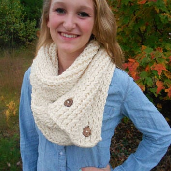 Cream Knit Button Chunky Infinity Scarf by AquaGiraffe on Etsy