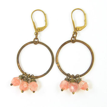 Pink Earrings - Beaded Brass Hoop Circle Rose Dangle Rustic Wire Wrapped Under 25 for Her