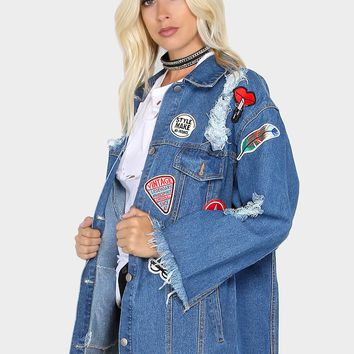 Oversized Distressed Denim Patch Jacket