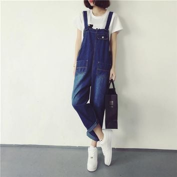 Summer style women jean jumpsuit  femme vintage rompers women denim jumpsuit jeans with pocket women overall length