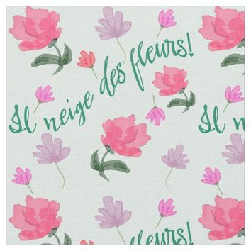 It's Snowing Flowers French Poem Textile