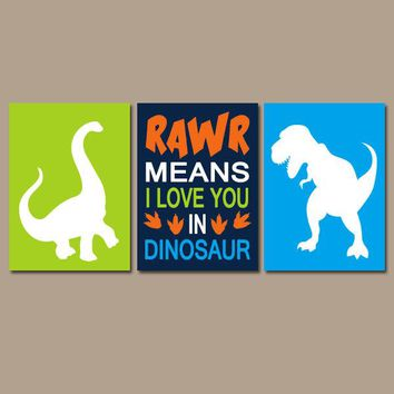 DINOSAUR Wall Art, Baby Boy DINOSAUR Decor, Big Boy Bedroom Pictures, RAWR Means I Love You, Dino Theme Decor, Set of 3 Canvas or Print