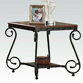 Acme 80091 Waneta collection cherry brown finish wood and metal frame end table