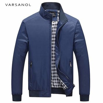 Men Autumn Solid Coat Men's Jacket Zipper Long Sleeve Outerwear