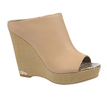 Sam Edelman Kylie Peep-Toe Wedge Mules - Natural Naked
