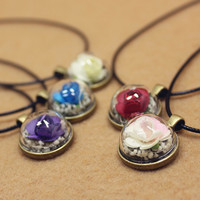 Vintage Style Handmade Dried Flowers Specimens Necklace Gift 137