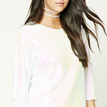 Iridescent Sequin Boxy Top