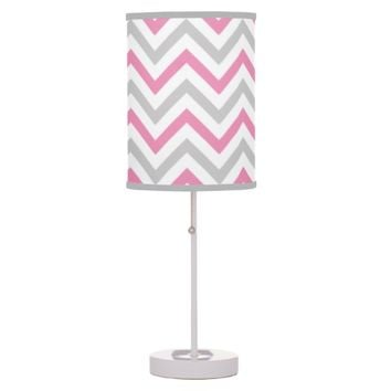 Bubblegum Pink, Gray and White Chevron Pattern table lamp