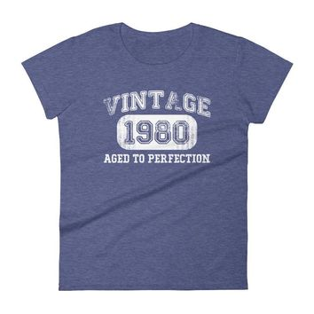 Women's Vintage 1980 Aged to perfection T-shirt - 37th birthday ideas