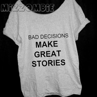 STORIES Tshirt, Off The Shoulder, Over sized, street style slouchy, loose fitting, graphic tee, screen printed by hand, women's, teens.