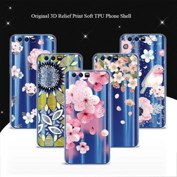 Phone Cases For Huawei Honor 9 Case Cover 5.15 inch 3D Relief Lace Soft TPU Back Covers Coque For Huawei Honor9 Honor 9 Funda