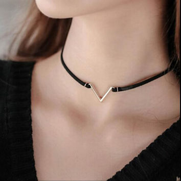 V Shape Choker Necklace